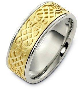 Ring Titanium Dora (8mm Celtic Knot Titanium and 18 Karat Yellow Gold Wedding Band - 11.25)