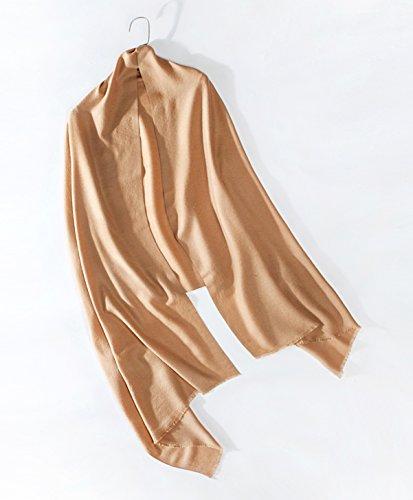 RIONA Women's Soild Basolan Wool Scarf - Super Soft Fashion Lightweight Neckwear for Spring & Fall(Camel) by RIONA (Image #6)