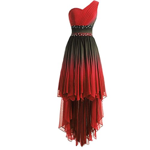 Lemai One Shoulder High Low Beaded Prom Homecoming Cocktail Dresses Black Gradient Red US 16