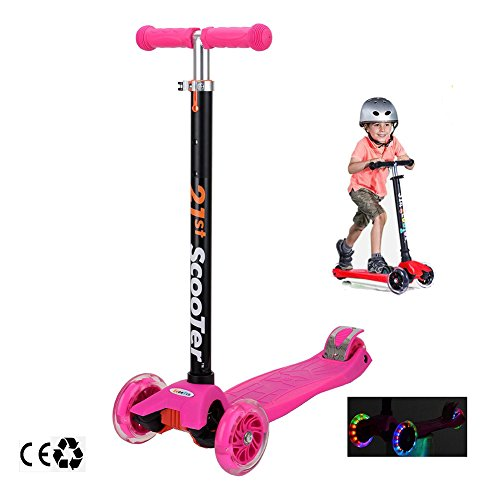 Scooters for Kids,Kingo 3 Wheel Adjustable Height Scooter with Led Light Up Wheels for Over 3 Years Old Boy and Girl (Pink)