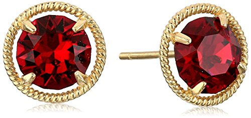 10k Gold Made with Swarovski Birthstone July Stud Earrings