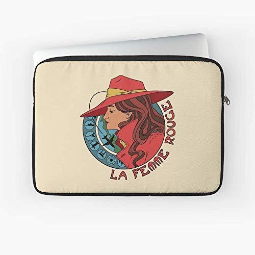 La Femme Rouge Cramen Sandiego Mucha Art Nouveau Style Portrait Laptop Sleeve - 13 Inch and 15 Inch - Best Gift for Family Friends