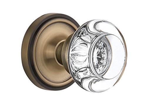 Nostalgic Warehouse Classic Rosette with Round Clear Crystal Glass Knob, Single Dummy, Antique Brass Brass Round Crystal