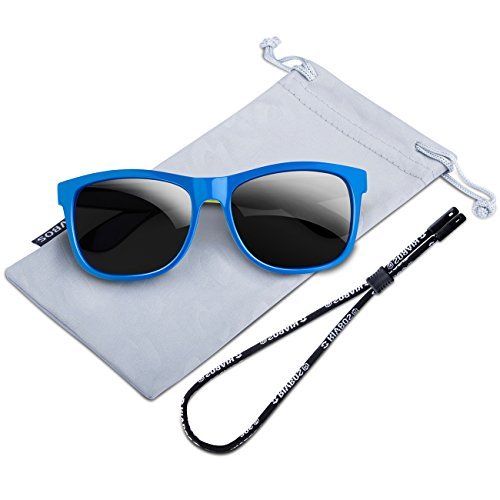 RIVBOS Rubber Kids Polarized Sunglasses With Strap Glasses Shades for Boys Girls Baby and Children Age 3-10 RBK023 (Blue)