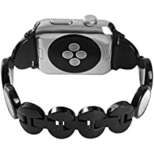 Band for Apple Watch 38mm Black,iWatch Women Quicksand metal Bling Replacement Bracelet,Series 3 Crystal Diamond Wristband Stainless Steel Strap for Apple Watch 38mm Series 3/2/1 Nike+ Sport Edition