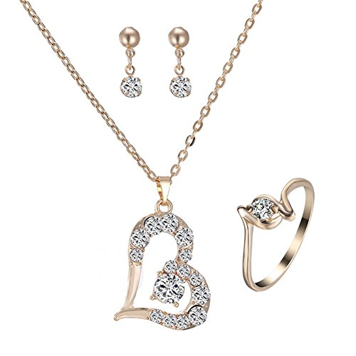 lightclub Loving Heart Pendant, Luxury Love Heart Pendant Rhinestone Necklace Ring Earrings Women Jewelry Set Golden