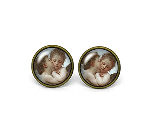 [Cupid and Psyche as Children, L'Amour et Psyché, enfants, Glass Dome Post Earrings, Stud Earrings, Post Earrings, Small] (Eros And Psyche Costume)