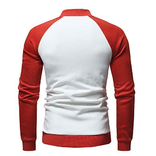 Coats Casual Sweatshirt Jacket Howme White Loose Men Contrast Raglan Fleece Ew0q81H