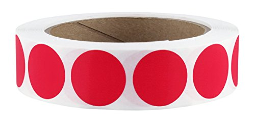 "1"" Red Color-Code Dot Labels on Cores - Permanent Adhesive, 1.00 inch - 1,000 Stickers per Roll"