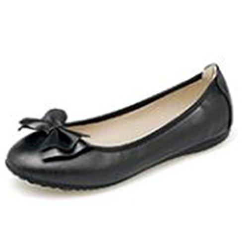 Driving Shoes Pu Foldable Bow Comfort Black Flats On Dress Slip Ballet Womens an8Hxa