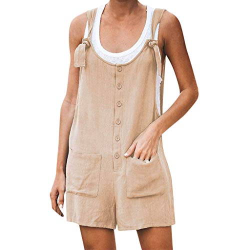 (Women Casual Button Pocket Jumsuit Linen Vintage Shift Spaghetti-Strap Rompers)