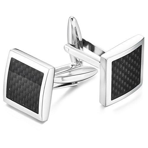(MOWOM Silver Tone Black 2PCS Rhodium Plated Carbon Fiber Cufflinks Square Shirt Wedding Business)