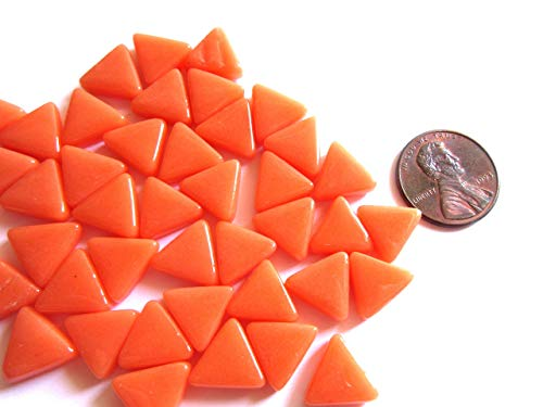 Small Bright Orange Mosaic Tiles, Mini Orange Triangle Tiles, Glass Mosaic Pieces, 10 mm, 2 oz (approx 100 tiles)