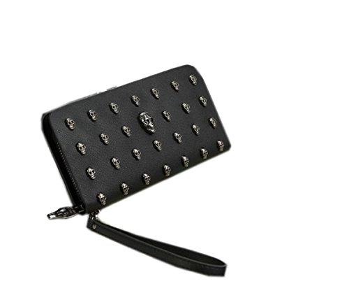 JJGOGO Men Women Retro Punk Skull Rivet Wallet Clutch Bags Wristlet Handbags