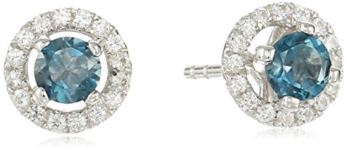 Blue Sapphire Collection - Sterling Silver London Blue Topaz and Created White Sapphire Halo Stud Earrings