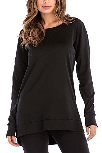 8sanlione Womens Long Sleeve Casual Crew Neck Pullover Loose Sweatshirt Tunic Tops T-Shirt (Large/US 12-14,Black)