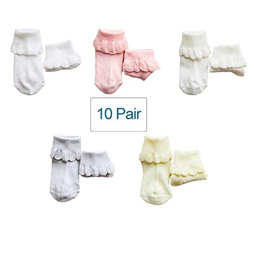 Luxehome (YR1703 10-Pack Baby Girls Cotton Knitting Cuff Lace Socks Princess Style (Medium) ()