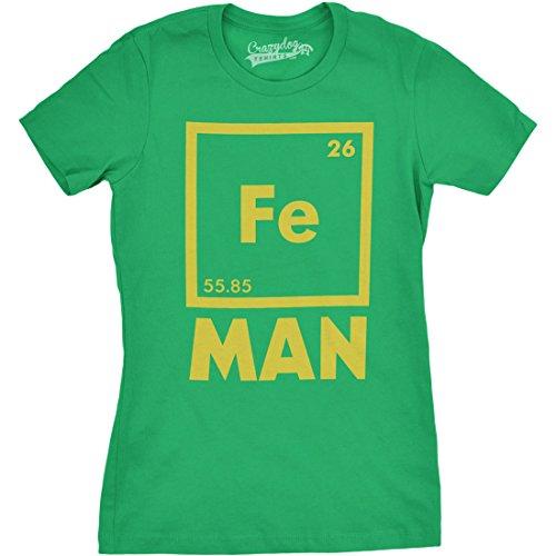 Crazy Dog TShirts - Womens Iron Man Science T shirt Cool Shirts Novelty Ladies Funny T shirt Graphic Design - Camiseta Para Mujer Verde