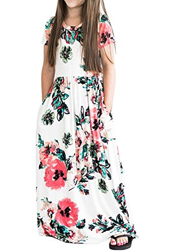(Dutebare Girls Summer Short Sleeve Floral Maxi Dress Casual Long Dresses with Pockets White 120)