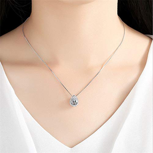 suchadaluckyshop Cute Pear Cut White Sapphire Pendant Necklace Chain Boho Big 925 Silver Jewelry ()