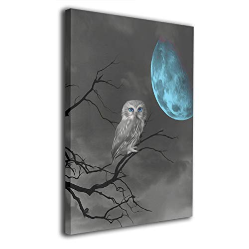 Bestcolor Owl Wall Art, Moon Art, Owl On Tree Branch, Wall Art Canvas Print Wooden Frame Abstract Paintings - Stretched and Framed Ready to Hang,16x20 Inches (On Canvas Owl)