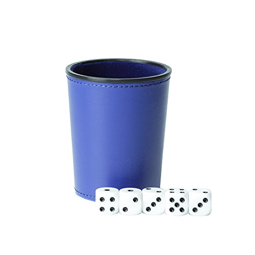 Magic Vosom Leather Dice Cup Set Felt Lining Mini Shaker Cup with 5 Dice (Blue)