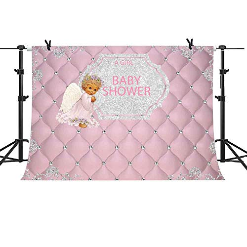 MME Pink Angel Background Sweet Baby Shower Background 10x7 Ft Pink Tufted Wedding Party Banner Supply Decoration LFME335]()