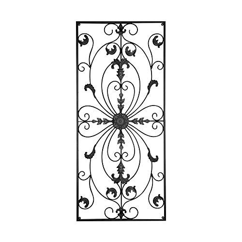 GB HOME COLLECTION Metal Wall Decor, Decorative Victorian Style Hanging Art, Steel Decor, Rectangular Design, 19.7 x 44 Inches, Black (Wall Metal Decors)