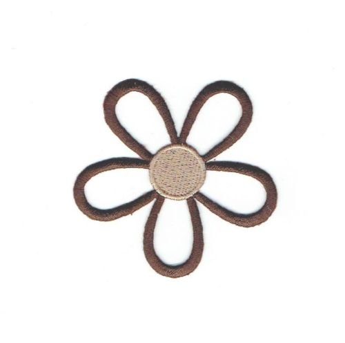 Logo patch embroidered)Iron On Embroidered Applique Patch Open Petal Brown and Tan Daisy Flower+ E-book with pictures