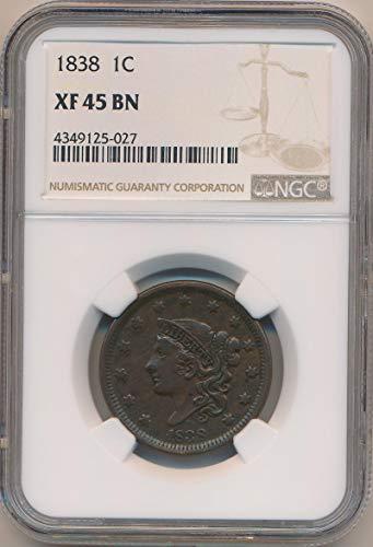 1838 P Coronet Cent XF45 NGC