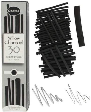 Global Art Materials 1004 Coates Assorted Artist Willow Charcoal 30 Sticks Black