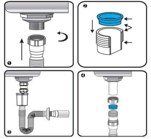 Anti-odor Pipe Sink Basin Water Drain Tube Bathroom Flexible Hose Kitchen W