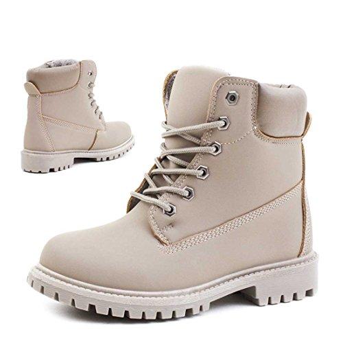 Trendige Unisex Damen Herren Schnür Stiefeletten Stiefel Worker Boots - auch in Übergrößen Grau Madrid gefüttert