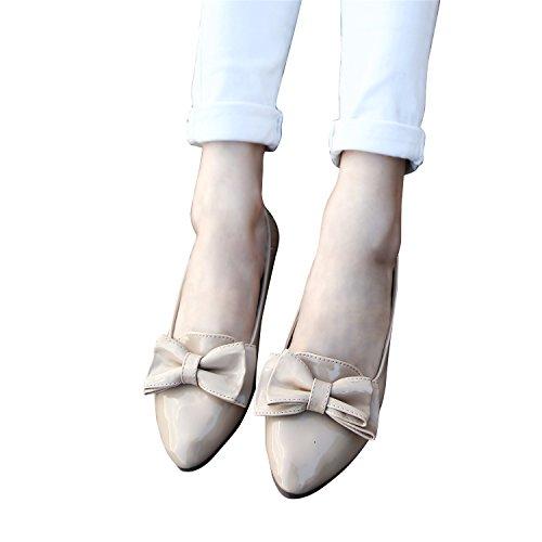 Smilun Damen Ballerina Flach Ballett Schleife Glänzende Lackleder Beige