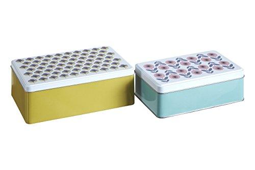 - Premier Housewares Joni Storage Rectangular, Set of 2, Tin, Multi-Colour, 13 x 20 x 7 cm
