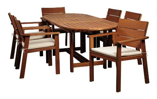 Amazonia Nelson 7-Piece Outdoor Oval Extendable Dining Table Set | Eucalyptus Wood...