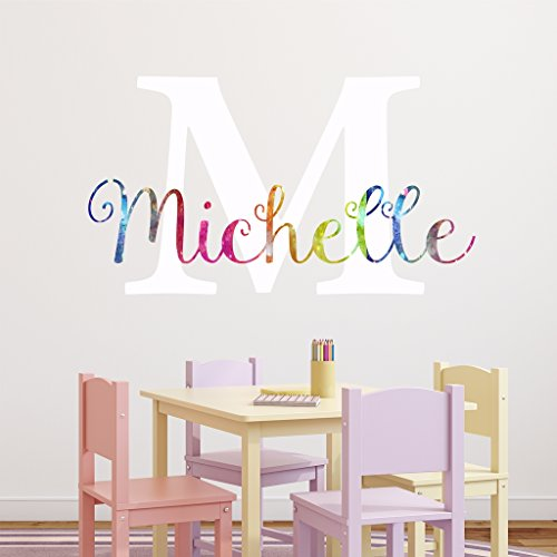 "Nursery Rainbow Custom Name Wall Decal Sticker, 28"" W by 16"" H, Girl Name Wall Decal, Girls Name, Personalized, Girls Name Decor, Girls Nursery, Girls Bedroom, PLUS FREE WHITE HELLO DOOR DECAL"
