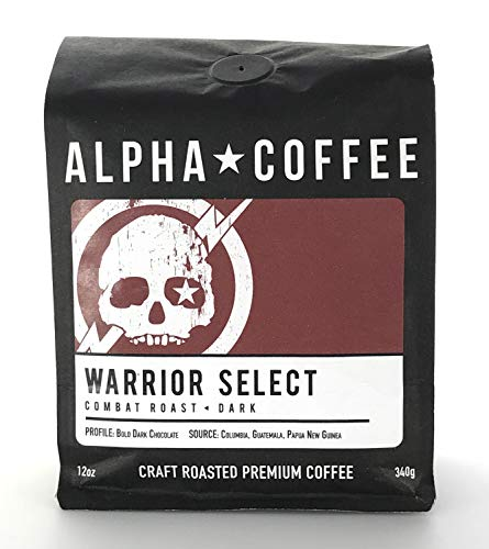Alpha Coffee, Whole Bean Coffee Dark Roast, 12 ounces, Bold Warrior Select Blend, 100% Arabica Coffee, from Papua New Guinea, Guatemala, Colombia