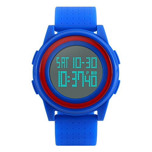Mens Digital Sports Watch LED Screen Military Watches, Ultra Thin Waterproof Casual Army Watch Blue
