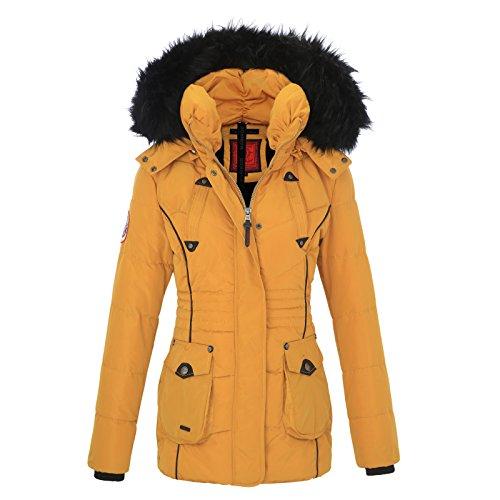Attraktiv Marikoo Damen Winter Jacke Stepp Parka Mantel Teddyfell Warm Gefüttert  Vanilla XS XXL Gelb TjudB0