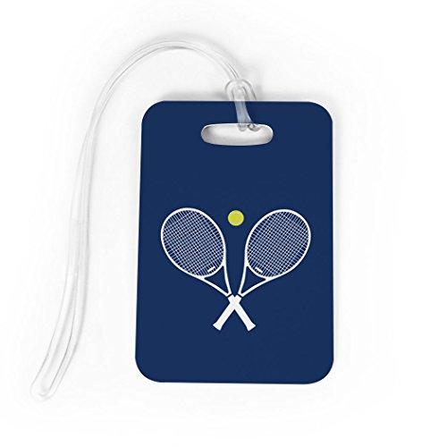 Tennis Luggage & Bag Tag | Crossed Tennis Rackets | Custom Info on Back | MEDIUM | NAVY