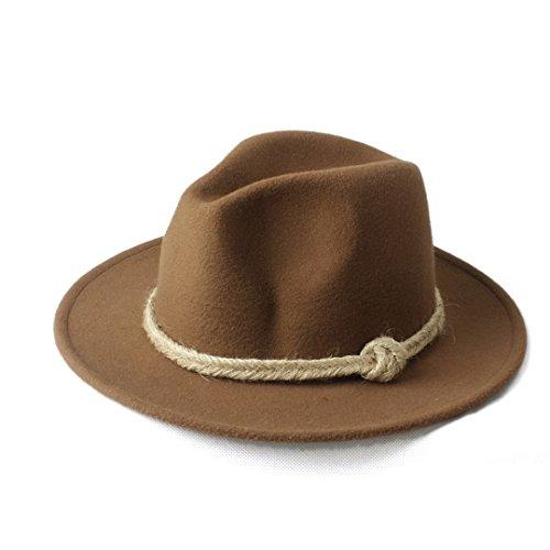 Hats Women Winter Flat Brim Cowboy Hat Fedora Hat with Hemp Rope for Elegant Lady Caps (Color : 8, Size : 57-58cm)