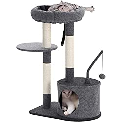 FEANDREA SONGMICS Cat Tree with Sisal-Covered Scratching Posts, Padded Condo and Top Perch, Activity Centre Playhouse Cat Tower Furniture, Felt Surface, Smoky Grey UPCT62G