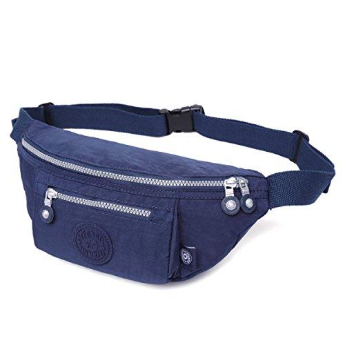 GSHGA Bolsa De Cintura Para Hombres Paño Lavado De Nylon Multifunción Deportes Al Aire Libre Bolsillos De Moda De Viaje,Blue Blue