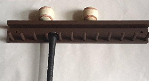 Baseball Bat Wall Mount Display Rack Wood Brown 6 Bats 6 Balls Holder by MWC