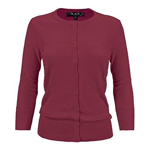 (YEMAK Women's 3/4 Sleeve Crewneck Button Down Knit Cardigan Sweater)