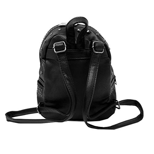 Chic Negro Mujer Mochilas Mate Estudiante De Mini Moda Cuero Tote Sporty Crossbody Bag Tachonado Borse Regalo Angkorly Bandolera Granulado Rock Street Idea Elegante wxqB6aW