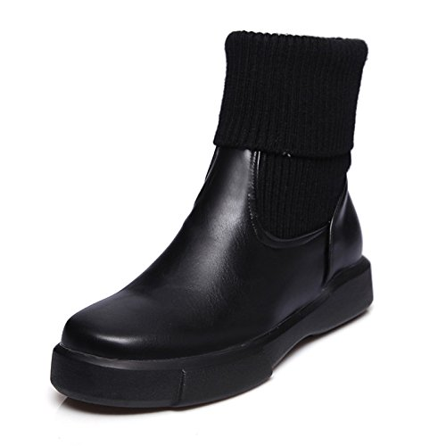 Black US8   EU39   UK6   CN39 Black US8   EU39   UK6   CN39 HSXZ Women's shoes PU Leatherette Winter Fall Fashion Boots Bootie Boots Flat Booties Ankle Boots Mid-Calf Boots for Office\Career Dress
