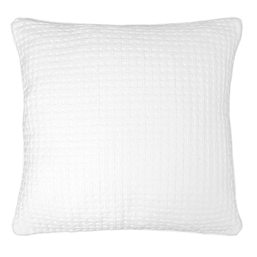 Veratex The Payton Collection 100% Cotton Made in the U.S.A. Decorative Contemporary Bedroom Euro Sham Pillow, White