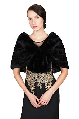 OBURLA Women's Rex Rabbit Fur Cape with Collar | Soft and Luxurious Real Fur Shawl Wrap Stole (Black)